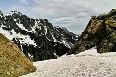 Hard packed snow. (Fr Paul Hackett) Tags: mountain chamonix sunshine clouds hillside spring snow