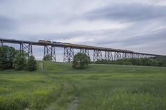 NS 066 Crossing Moodna Viaduct - 6/03/2018 (John McCloskey Jr.) Tags: ns up moodna viaduct salisbury mills new york trains outdoors emd sd70ace sd70ah green grass fields office car special