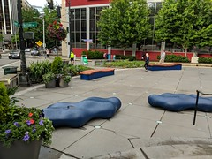 Fun seating for people to try and enjoy in Westlake/McGraw Square (Seattle Department of Transportation) Tags: donghochang seattle sdot transportation westlake mcgrawsquare seating people space downtown bench splort splat seat sit relax plants trees