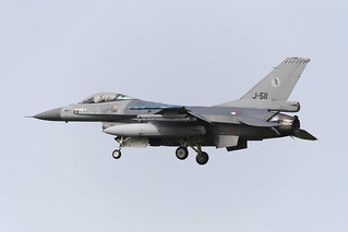 F-16AM Falcon RNlAF (J-511) landing at Airbase Leeuwarden,Friesian Flag