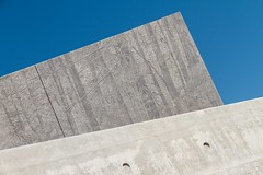 Elements (Karen_Chappell) Tags: concrete blue grey travel ottawa nationalholocaustmonument architecture triangle geometry geometric ontario abstract tilt angle diagonal shape art mural city urban