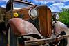 35' Chevy Truck (rjmonner) Tags: chevy chevrolet auto truck rusted 1935 antique relic clouds sky fender bumper tire wheel headlights farm farming rubber tread utah happytruckthursday advertising rock shop arid redrock moab crank
