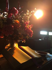 Flowers, Bible, and Offering Plate (trumpeterny) Tags: bible church altar offering plates flowers arrangement table stained glass sun glare