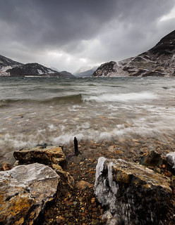Ennerdale waves rocks and ice