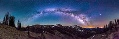 Milky Way over the South San Juan Mountains (Bryce Bradford) Tags: milkyway galaxy panorama night stars nightscape landscape airglow wilderness colorado southsanjuan mountains pagosasprings littleblancotrail blackheadpeak nipplemountain quartzridge squaretopmountain nikon d800e sigma 14mm f18