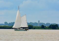 Premier voilier qui va vers Bordeaux (jackline22) Tags: voilier gironde estuaire blaye bordeaux eau nature ciel nuage arbres bateau