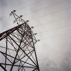 Power (Bob DiBono) Tags: power lines cables grid lock 7 seven mohawk river valley sky clouds electric niskayuna ny new york n y s nys rollei rolleiflex tlr t l r kodak portra 160 1 6 120mm 120 mm 2 m film analog