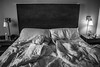 2018 - photo 144 of 365 - another hotel room messy bed (old_hippy1948) Tags: bed messy hotel monochrome