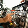 Stock Images (perfectionistreviews) Tags: color truck transfer square male man men driver onepersononly transportation dashboard button bodypart hand finger 5055years eighteenwheeler tractortrailer truckdriver dash middleagedman caucasian photograph middleaged scienceandtechnology