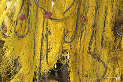 Hanging in the sun to dry... (Κώστας Καϊσίδης) Tags: nets fishingnets hanging sun fishing fishingport greece hellas yellow traditional dry todry