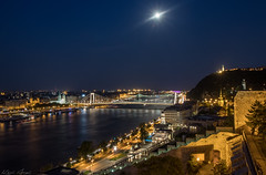 Moon, night and Budapest... (keriarpi) Tags: budapest night shot buda castle bridge erzsébet híd bluehour moon city cityscape danube duna river water longexposure long exposure