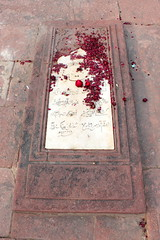 red petals (kexi) Tags: india asia uttarpradesh fatehpursikri red petals tomb sandstone white marble text inscription epitaph vertical islam canon february 2017