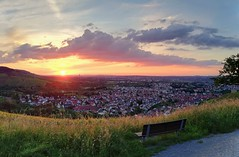 Sunset in June (DrQ_Emilian) Tags: sunset sun sunlight sunshine light dawn evening mood colors details sky clouds landscape view vineyards hills bench town rural countryside outdoors travel visit explore stetten kernen remstal remsmurrkreis badenwürttemberg germany europe photography hobby smartphone huaweimate10lite