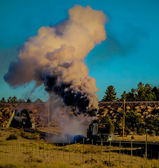 Early Cold Morning Steam (Woodypug) Tags: weather freezing cold smoke steam grandcanyonrailway excbq 4960 williams arizona landscape locomotive railroad route66 recyclevegetableoil biofuel