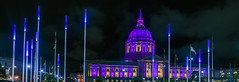 lupus awareness month at city hall (pbo31) Tags: sanfrancisco california night dark black may 2018 city urban boury pbo31 color cityhall civiccenter lupus purple dome architecture illuminated panoramic large stitched panorama