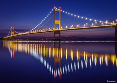 Severn Bridge. (_Anathemus_) Tags: suspension bridge england wales night shot long exposure river south gloucestershire chepstow monmouthshire severn wye cymru aust nikon d750 dusk twilight sunset landscape blue hour