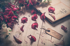 Petals (Ro Cafe) Tags: helios58mmf2 stilllife flowers tabletop petals tag book peruvianlily vintage romantic textured vintagelens nikond600