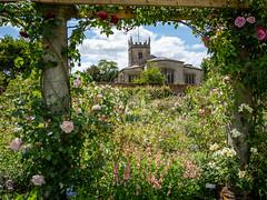 In the frame, Coughton Court Gardens (Bob Radlinski) Tags: cotswolds coughtoncourt england europe stpeterschurch uk warwickshire travel walledgarden