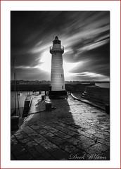 Lighthouse Shadows (Deek Wilson) Tags: donaghadee lighthouse longexposue mono black white sky clouds harbour harbor landmark northernireland