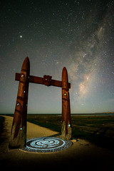 The Gateway Stars (ajecaldwell11) Tags: xe3 milkyway ankh astrophotography water moonshadow celestialcompass fujifilm light hawkesbay newzealand moonlight napier night ateaarangi pou capekidnappers caldwell stars sky