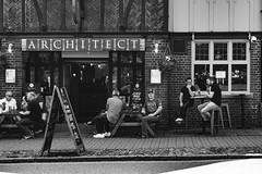 Cambridge #1 (Alan Headland) Tags: cambridge cambridgeshire blackandwhite city urban pub arcitect streetphotography dring relax beer
