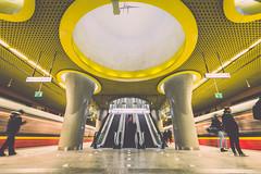 Metro lines (PiTiS ¬~) Tags: metro subway underground architecture arquitectura station estacion lines lineas colores colors futuristic transport warsaw warszawa poland polska polonia nikon varsovia transporte