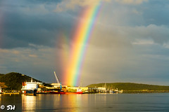 Regenbogen (steffen.hieber) Tags: olbia schiff regenbogen sardinien meer