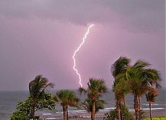 Late Afternoon Thunder Storm Just Off the Coast (Logan Pierson) Tags: storm lightning thunder clouds beach ocean palm trees water waves sand dark cloudy electric island danger flash bolt strike