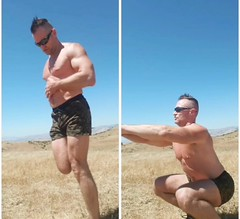 sissy squats (ddman_70) Tags: shirtlesss pecs abs muscle shortshorts hiking stretching sissysquats