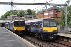 318267 2V37 12:59 Cumbernauld to Dumbarton Central & 320307 2V48 12:26 Dumbarton Central to Cumbernauld; Springburn; 16-06-2018 (graeme8665) Tags: abellioscotrail scotrail springburn emu