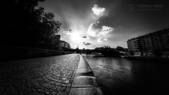 Danube Canal BW (Thomas TRENZ) Tags: austria fluss nikon sonnenuntergang stadt thomastrenz vienna blackwhite bw city danube donaukanal fisheye kanal pear river samyang schwarzweiss sunset sw ufer wien österreich