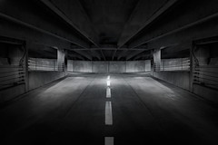 Center Line (shutterclick3x) Tags: parking garage blackandwhite bw moody frankloose