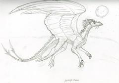 Night Flight (Dragongirl05) Tags: drawing art illustration sketch pencil shading night moon dragon flying soaring feather fantasy