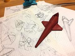 I am drawing diagrams of the Space shuttle ORION origami. (Matayado-titi) Tags: sugamata spaceship starship space shuttle 2001 origami orion shusugamata matayado
