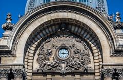2018 - Romania - Bucharest - CEC Bank - 2 of 2 (Ted's photos - For Me & You) Tags: 2018 bucharest nikon nikond750 nikonfx romania tedmcgrath tedsphotos vignetting cecbank casadedepunericonsemnațiunișieconomie cecpalace arch clock clockface arches