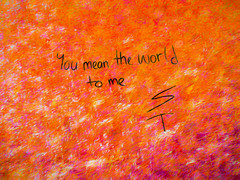 You Mean the World to Me (Steve Taylor (Photography)) Tags: youmeantheworldtome st art graffiti streetart black white yellow purple pink mauve red orange newzealand nz southisland canterbury christchurch cbd city