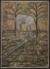 The Elephant's Child (ArneKaiser) Tags: 3rdgrade boarddrawings hws haleakalāwaldorfschool mrkaisersclass chalk chalkart chalkboard chalkdrawings