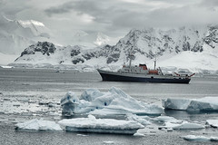 . (robbie ...) Tags: south pole antarctica expedition boat argentinian ushuaia nikon d70 ice bergs shelves shelf mountain remote sea clouds