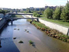 Madrid Rio : a marvel of urban planning :the regeneration of the Manzanares! (d.kevan) Tags: madrid parksandgardens madridrio rivers plants islets bridges buildings rivermanzanares walls riverbanks spain paths trees people
