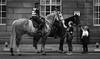 police horse charm offensive (Chilanga Cement) Tags: blogpreston fuji fujifilm fujix100f bw blackandwhite monochrome people police horse ridrt coppers bridle saddle helmet cop cops 50