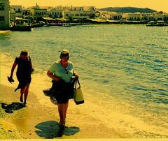 Penelope and Jocasta (skaradogan) Tags: mykonos isle island greece meidterranean sea beach blue water barefoot