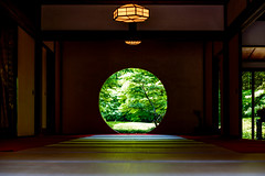 The Window of Enlightenment of Meigetsuin in Kamakura : 北鎌倉・明月院 方丈「悟りの窓」 (Dakiny) Tags: 2018 spring earlysummer freshgreen may japan kanagawa kamakura city street temple meigetsuin indoor landscape architecture building interior window nikon d750 nikonafsmicronikkor60mmf28ged afsmicronikkor60mmf28ged nikonclubit