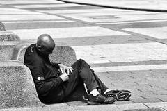 Sitting in the Sun (SteveJ442) Tags: liverpool merseyside england uk people candid person blackandwhite blackwhite bw mono monochrome street nikon