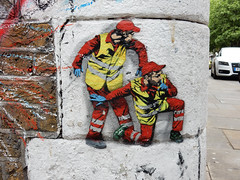 Builders (aestheticsofcrisis) Tags: street art urban intervention streetart urbanart guerilla guerillaart graffiti postgraffiti london uk shoreditch hackney brick lane stencil schablone pochoir