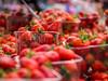 Norwich market - local yummy strawberries (Unni Henning (also Instagram @unnikarin59)) Tags: macro closeup strawberries fruit summer plant edible red market norwich norfolk england growing produce farming forsale dessert nature outdoor