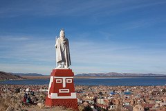 On Top of the Hill, Overlooking Puno (Geraint Rowland Photography) Tags: laketiticaca peru puno cityofpuno photographyinpuno ontopofthehillpuno geraintrowlandphotography statue modernart city architecture housesinperu livinginperu wwwgeraintrowlandcouk peruhop travelinperu bolivia lake landscape largestlakeintheworld visitperu canonperu mikejoints