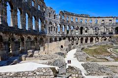 Pula: Roman Arena looking left (ARKNTINA) Tags: pula pulacroatia istria istra europe croatia hr18 eur18 random6 town building architecture arena amphitheater pulaarena romanamphitheater romanarena romanruins ruins