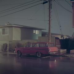 In a Driving Rain (C A Soukup) Tags: ford longexposure inadrivingrain nightphotography film acertainstillness mediumformat stationwagon hasselblad mtdavidson porta160 sanfrancisco relics noir kodak