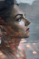 Remembered (∤ Esther ∤) Tags: doublexpousure double face lights bokeh portrait selfportrait art artistic beauty beautiful hair female women photography photo