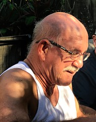 Eddie (LarryJay99 ) Tags: man men guy guys dude male studly manly dudes handsome glasses baldhead baldheaded hairy hairyman face profile mustasch stud neck workingman hairyarms dome lightandshadow condid unware unexpected portrait facialhair facial hunk sexyman masculine people persons sagger bulge